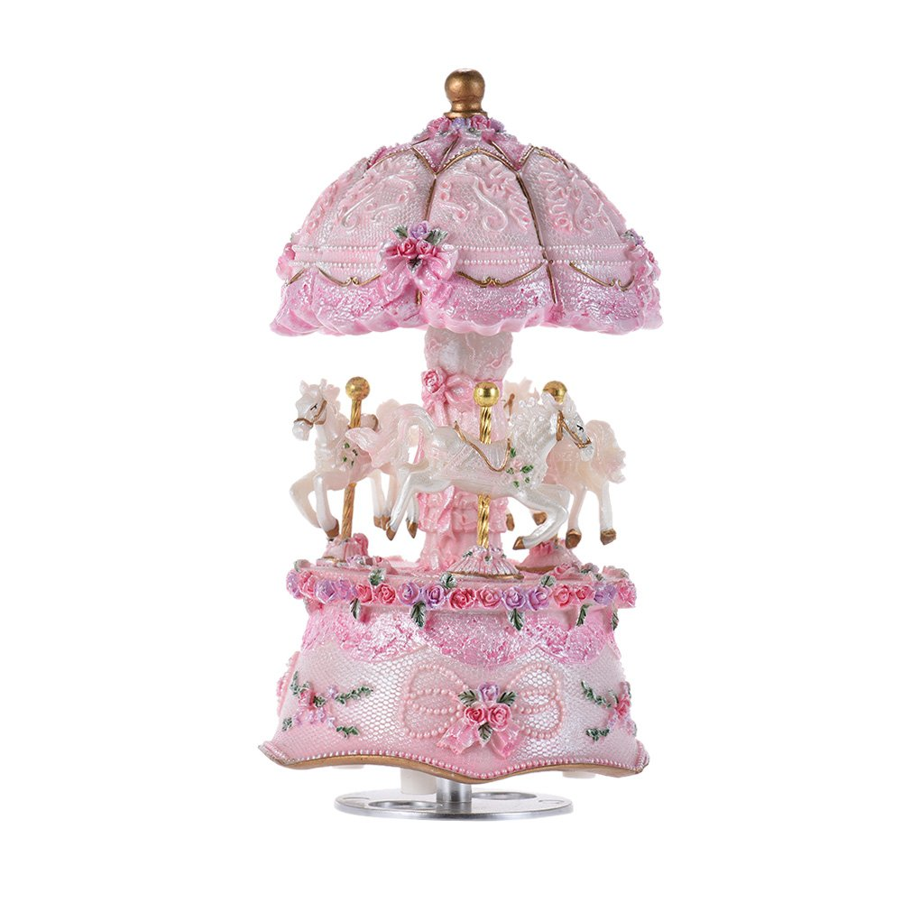 ammoon Luxury Dream 3-Horse Rotating Carousel Windup Music Box Merry-go-round with Colorful Change LED Luminous Light Melody of Castle in the Sky Artware Birthday Valentine Gift 1
