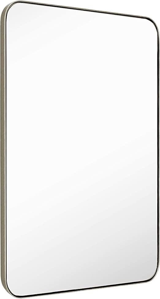 MIRROR TREND 22 x 30-Inch Large Rectangular Wall Mirror with Glass Panel and Black Metal Framed Rounded Corner Deep Set Design for Bathroom Living Room or Entryway Decorative