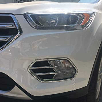 2pcs Car ABS Chrome Front Fog Light Lamp Cover Trim For 2017 18 Ford Escape Kuga