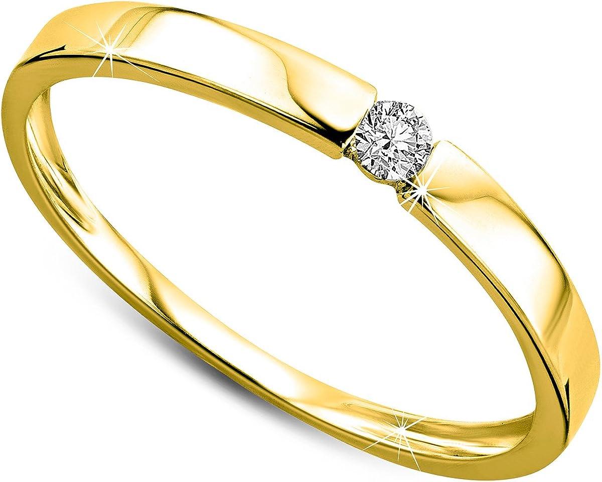 Orovi anillo de mujer solitario 0.05 Quilates diamantes en oro amarillo 9 kilates ley 375 Anillo Hecho a Mano en Italia