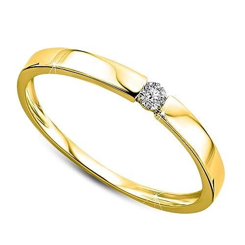 Orovi anillo de señora solitario 0.05 Ct diamantes en oro amarillo de 9k ley 375