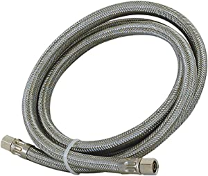 "Eastman 48383 Stainless Steel Icemaker Connector 1/4"" COMP, 1 Ft Length, Silver"
