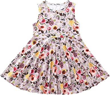 Goodlock Toddler Infant Kids Fashion Dress Baby Girls Dress Floral Print Sun Dresses Clothes Outfits
