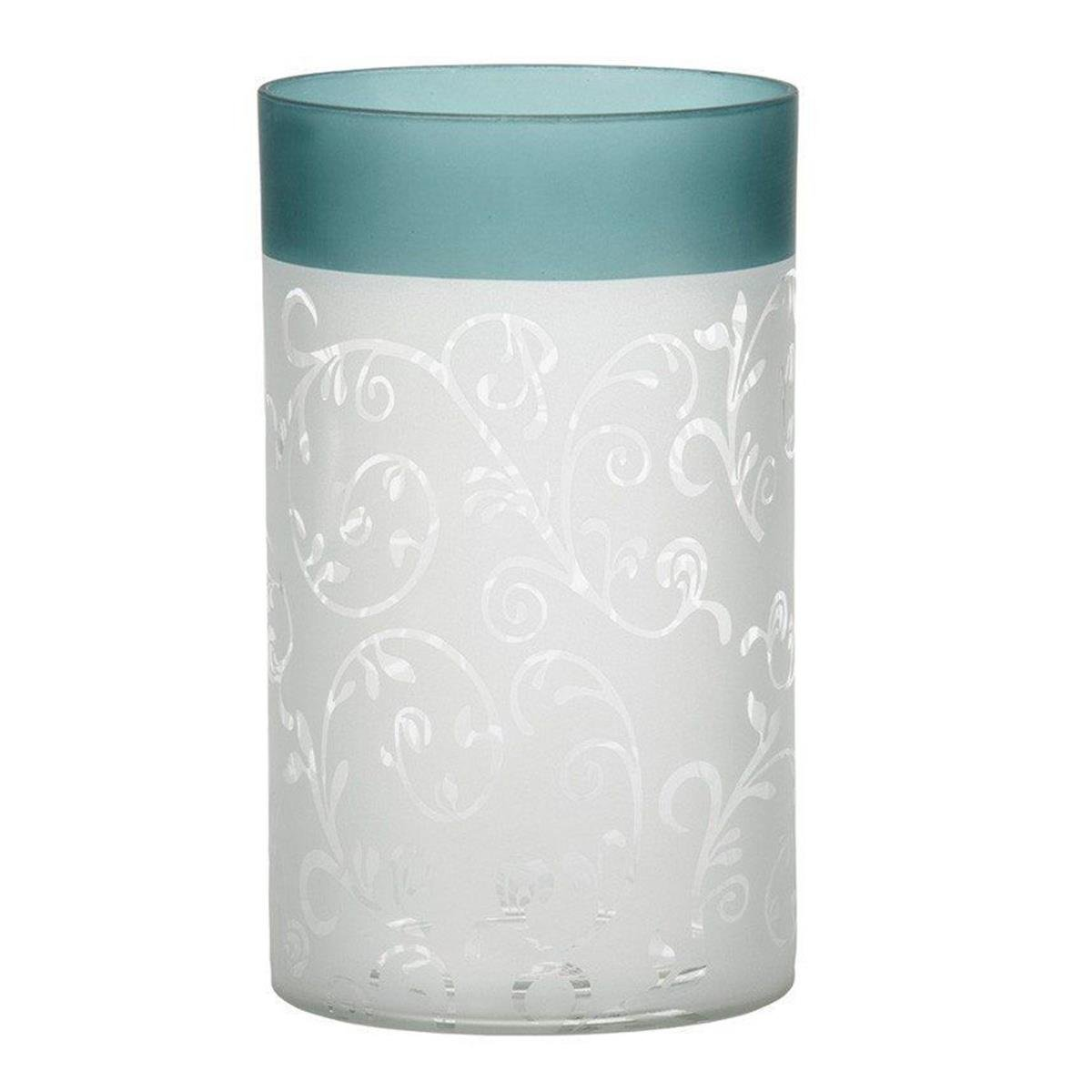 Yankee Candle 1521507 Teal Vine Glass Tealight Holder, Green/White, 15 x 10 x 10 cm