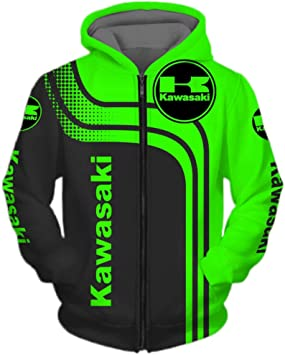 Xiaoxian Herren Hoodies Jacke Für Kawasaki 3d Digital Druck Lässig Kapuze Reißverschluss Ventilatoren Sweatshirts Jersey Sport Grün L Baumarkt