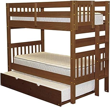 Touyok - Litera Doble con Escalera y Cama Doble, Color marrón: Amazon.es: Hogar