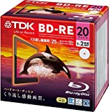 TDK Bluray Disc 25 gb BD-RE rewritable 2x Speed White Printable HD discs 20 pack in Jewel cases
