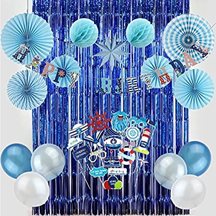 Baby Boy 1st Birthday Nautical Party Decoration Kit Blue Foil Curtains Paper Fans Photo Booth Props