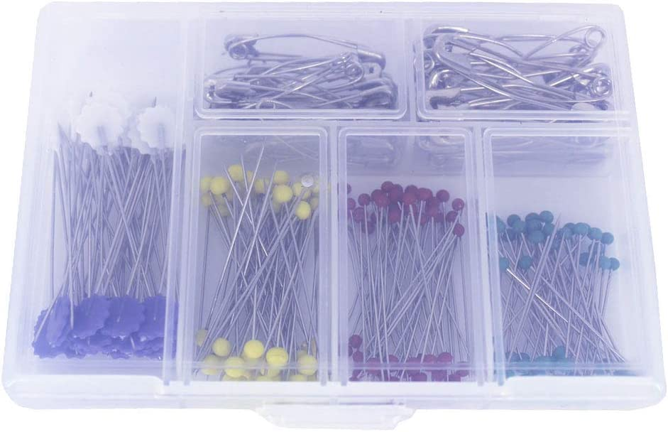 Curved Basting Safety Pins /& Flower Head Pins /& Glass Head Straight Pins Set for Sewing Dressmaking Knitting Crafts Bestartstore 250pcs 1box