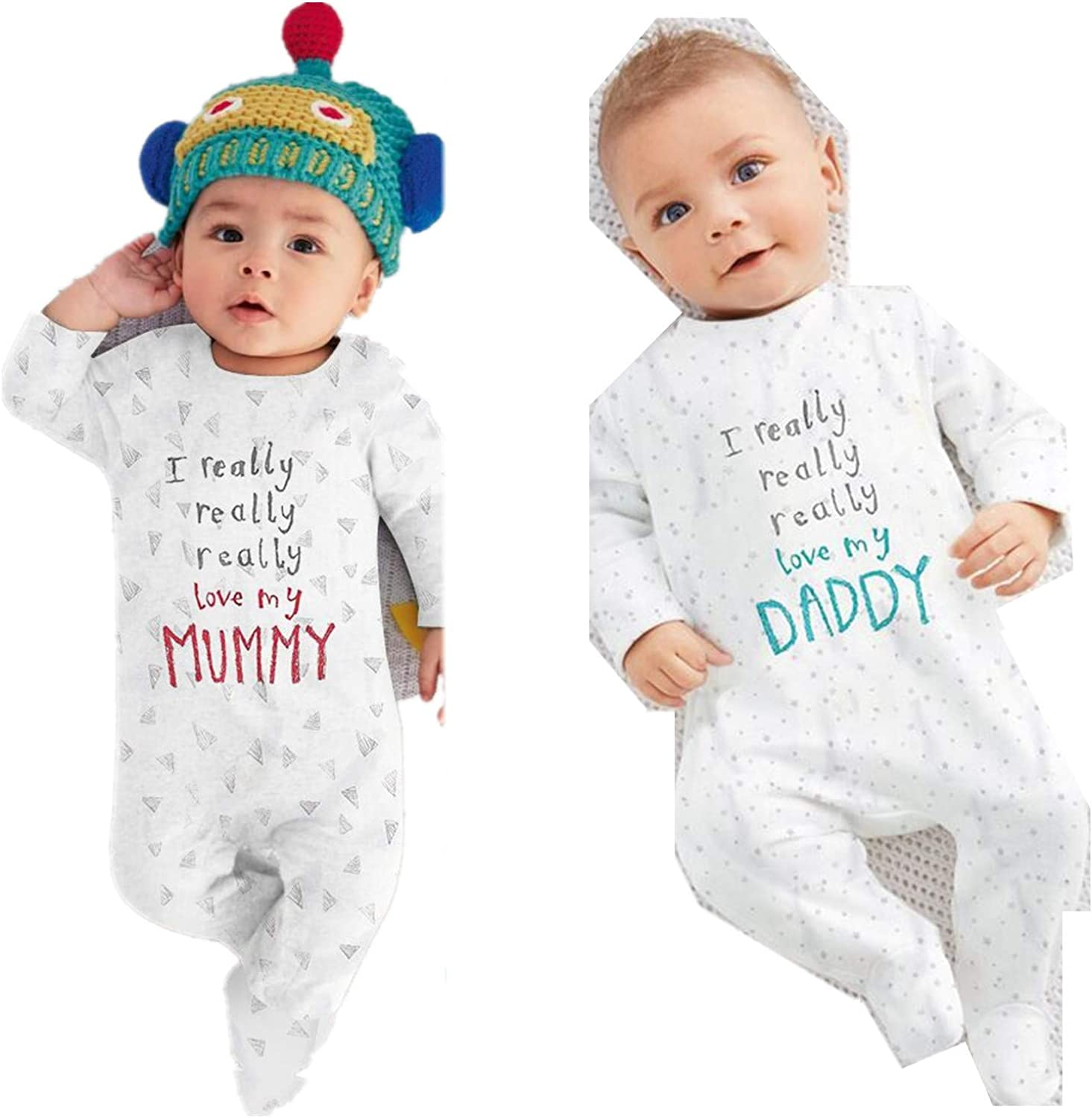 Kimocat Unisex-Baby Newborn I Love Mummy I Love Daddy Long Sleeve Romper Pajama Outfits
