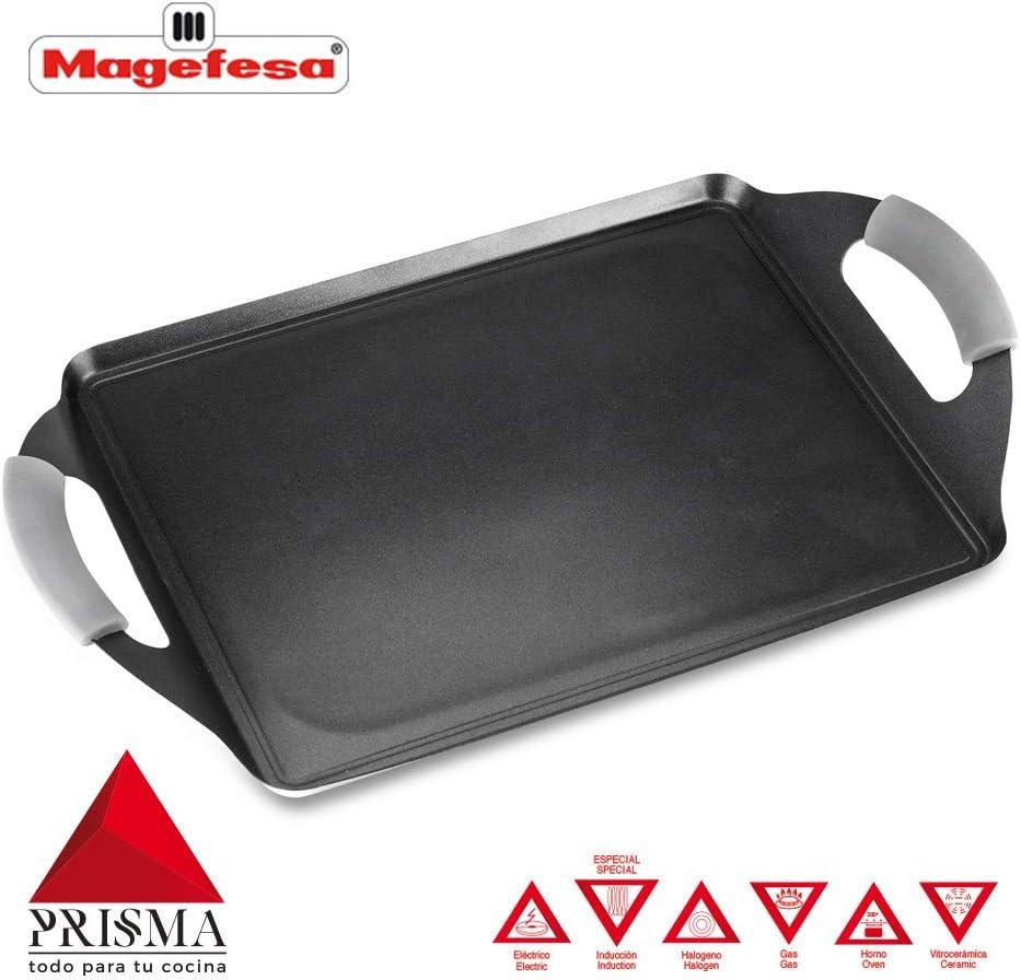 Plancha Teppanyaki MAGEFESA Prisma. Teppanyaki Fabricado en Acero Inoxidable, Antiadherente Triple Capa, Apta para Todo Tipo de Cocina, INDUCCIÓN. Apto para lavavajillas y Horno. (Teppanyaki, 41_cm)