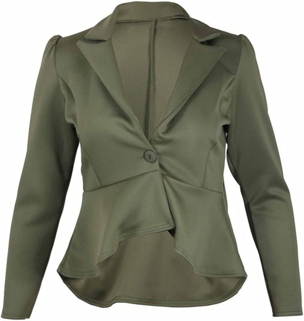 EU 36- EU 54 Islander Fashions Damen Mit Langen /Ärmeln R/üschen Verschieben Ausgestattet Unteren R/ücken Peplum Blazer