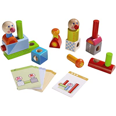 HABA Smart Fellow Wooden Pegging Game with 20 Template Cards for Ages 2-6 and Up (Made in Germany): Toys & Games