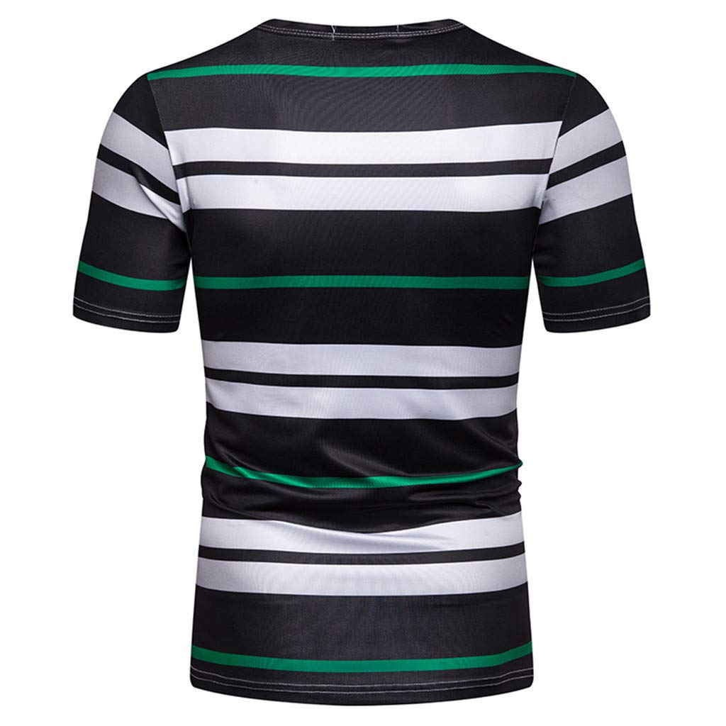 STORTO Mens Striped Casual T-Shirts Basic Short Sleeve Crew Neck Fashion FIt Tee Shirts Tops