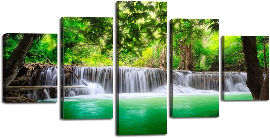 Beautiful Waterfall Wall Art 5 Pieces Green Forest Canvas Painting Modern Natural Landscape Picture Dreamlike Poster Print Giclee Artwork Home Decor for Living Room Bedroom Office Framed (60''Wx32''H)