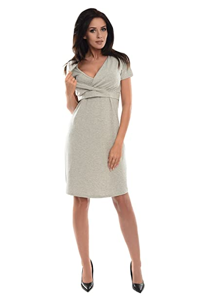 Purpless Maternity 2in1 Embarazo y Lactancia Vestido Casual Manga Corta 7208 (36, Light Gray