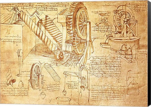 Facsimile Of Codex Atlanticus Screws And Water Wheels By Leonardo Da Vinci Canvas Art Wall Picture  Museum Wrapped With Black Sides  17 X 12 Inches