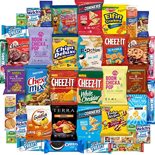 Snack Chest Care Package (40 Count) Variety Snacks Gift Box - College Students, Military, Work or Home - Over 3 Pounds of Chips Cookies & Candy! -