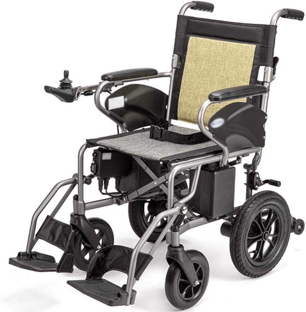 AOLI Silla de ruedas eléctrica para adultos, discapacitados Silla de ruedas eléctrica, ligero plegable de alimentación ayuda motriz Peso silla de ruedas Sólo 23Kg Soporte 100Kg Heavy Duty