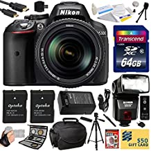 "Nikon D5300 24.2 MP CMOS Digital SLR Camera with 18-140mm f/3.5-5.6G ED VR AF-S DX NIKKOR Zoom Lens (Black) (13303) with Professional Accessory Bundle Kit includes 64GB SD Memory Card + SD Card Reader + 60"" Tripod + Carrying Case + HDMI Cable + (2) Extra Battery + Charger + 67MM 5 Piece Filter Set + Shutter Remote Control + Bower SFD728 Automatic Flash + Leather Camera Hand Strap + DVD Training Photography Tutorial for Digital Prints + Lens Cleaning Kit with Dust Remover"