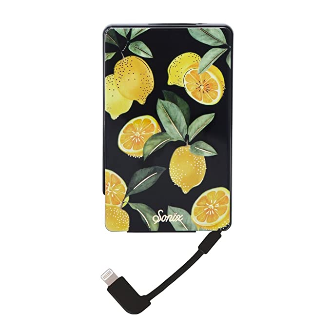purchase cheap 8ca64 15c20 Sonix Lemon Zest External Battery Pack for iPhone (Portable Charger with  built in MFi Lighting Cable) Pick Me Up Power Bank for Apple iPhone 5, 6,  6s, ...
