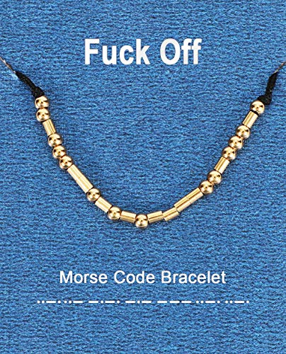 XquiziFit Morse Code Bracelet 3mm Gold Beads on Silk Cord Jewelry Gift for Women, Cute Bracelet with Special Meaning