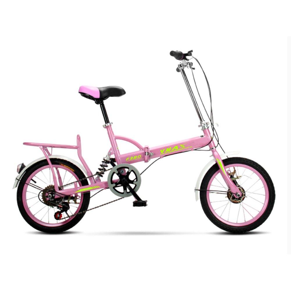 大人 折りたたみ自転車, 折りたたみ自転車 男性と女性 超軽量 子供たち 学生 6 速 折り畳み自転車 B07CZZY8RG 20inch|ピンク ピンク 20inch
