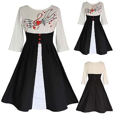 f9f0c504774 Women Summer Dress Plus Size Vintage Print High Waist O-Neck Patchwork  Loose Dress