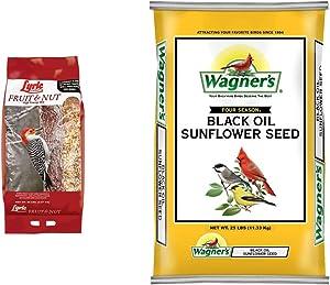 Lyric 2647417 Fruit & Nut High Energy Wild Bird Food, 20 lb & Wagner's 76027 Black Oil Sunflower Wild Bird Food, 25-Pound Bag