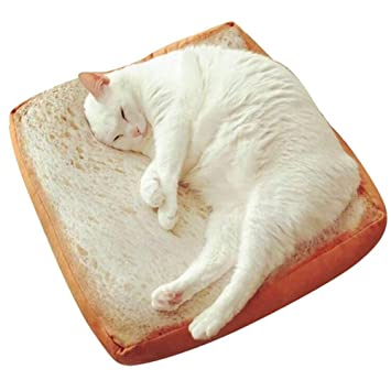 MOGOI Cama para mascotas, creativa y lavable para tostadas de pan de pan Slice Style