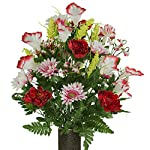 Red-White-Peony-Daisy-Mix-featuring-the-Stay-In-The-Vase-DesignC-Flower-Holder-LG1946