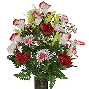 Red White Peony Daisy Mix, featuring the Stay-In-The-Vase Design(C) Flower Holder (LG1946) 12