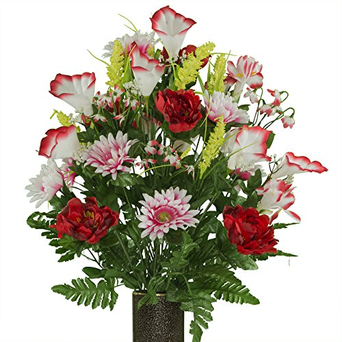 (Red White Peony Daisy Mix, featuring the Stay-In-The-Vase Design(C) Flower Holder (LG1946))