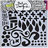 CRAFTERS WORKSHOP TCW593S Template, 6'' x 6'', Doodled Pattern, White