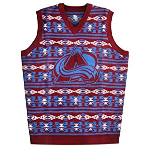 NHL Colorado Avalanche Aztec Print Ugly Sweater Vest, Small, Team Color