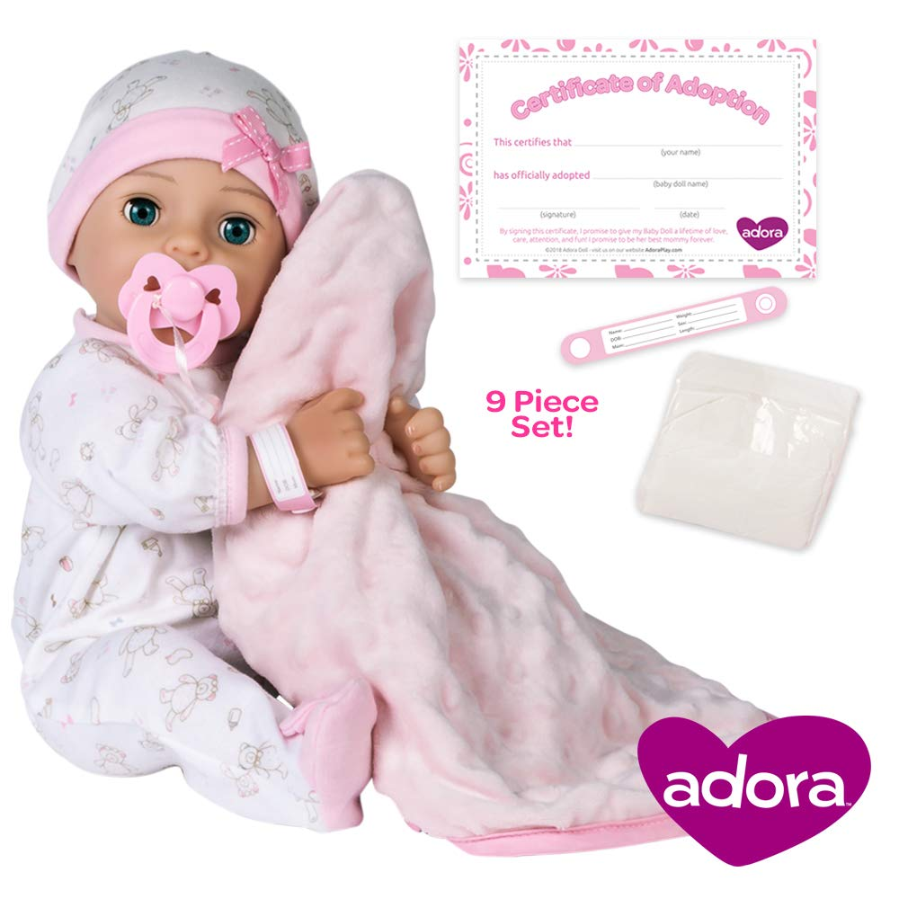 Adora Adoption Baby ''Hope'' 16 Inch Vinyl Girl Newborn Weighted Soft Cuddle Body Baby Doll Toy Gift Set with Open Close Blue Eyes for 3 Year old kids and up by Adora