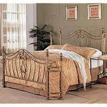 "Coaster Fine Furniture Metal Bed Headboard & Footboard, Queen, Gold, 76.25""X 52.5""X 37.50"""