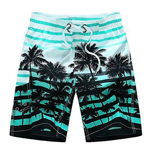 Newland Men's Colorful Stripe Coconut Tree Beach Shorts Swim Trunks Blue 35-36 - Men Suit Wear