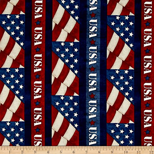 Blank Quilting 0465766 American Honor USA Stripe Blue Fabric by The Yard,