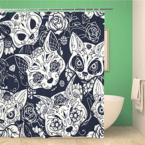 Awowee Bathroom Shower Curtain Pattern Colorful Sugar Cat Skull Floral and Flower Day 72x78 inches Waterproof Bath Curtain Set with Hooks -