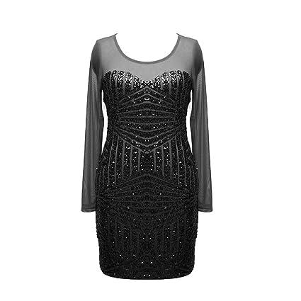 jannyshop Sexy mujer vestido de fiesta noche cóctel transparente malla gasa lentejuelas Blog Backless Vestido de
