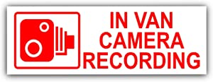 Platinum Place 5 x Small in Van Camera Recording-Red on White-Security Stickers-3.4x1.2 INCHES-Dashboard CCTV Sign-Van,Lorry,Truck,Transit,Bus-Go Pro,Dashcam Car Secure Deter Protection