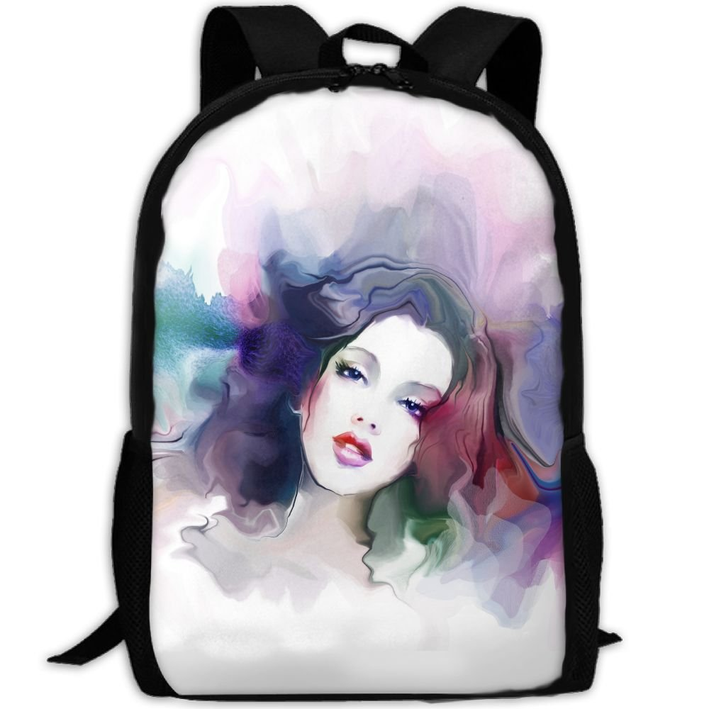 OIlXKV Beautiful Watercolor Girl Print Custom Casual School Bag Backpack Multipurpose Travel Daypack For Adult