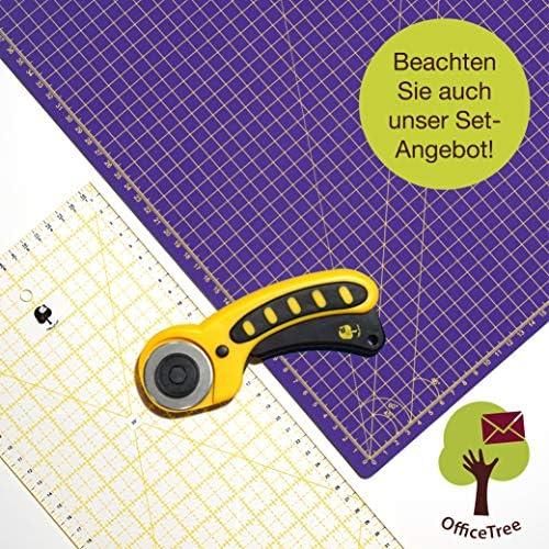 OfficeTree Set Schneidematte A1 90x60 cm + Rollschneider + Lineal 60x16 cm - selbstheilende Schneideunterlage - für professionelle Schnittarbeiten (Lila/Pink)