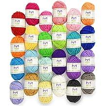 Mira Handcrafts 24 Skein Multicolor Yarn for Knitting and Crochet | Acrylic Craft Yarn | Includes 2 Crochet Hooks, 2 Weaving Needles, 7 E-books with Yarn Patterns | Crochet Starter Kit