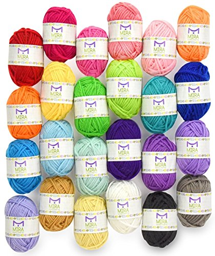 Mira Handcrafts 24 Skein Multicolor Yarn for Knitting and Crochet | Acrylic Craft Yarn | Includes 2 Crochet Hooks, 2 Weaving Needles, 7 E-books with Yarn Patterns | Crochet Starter (Crewel Yarn)