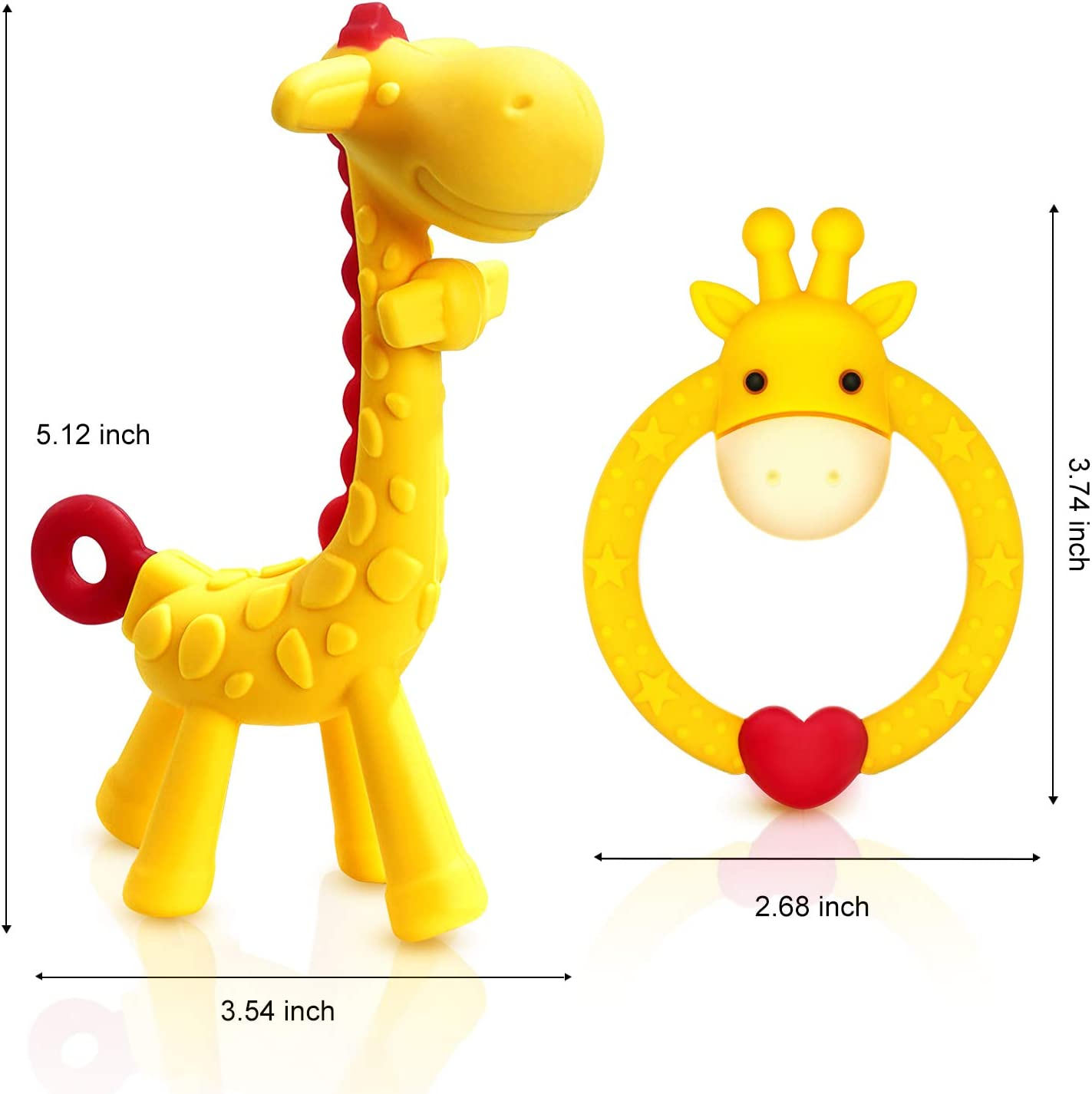 for 3 Months Above Infant Sore Gums Pain Relief Set of 2 Different Teethers Pink SHare/&Care BPA Free Silicone Giraffe and Giraffe Ring Baby Teething Toy with Storage Case