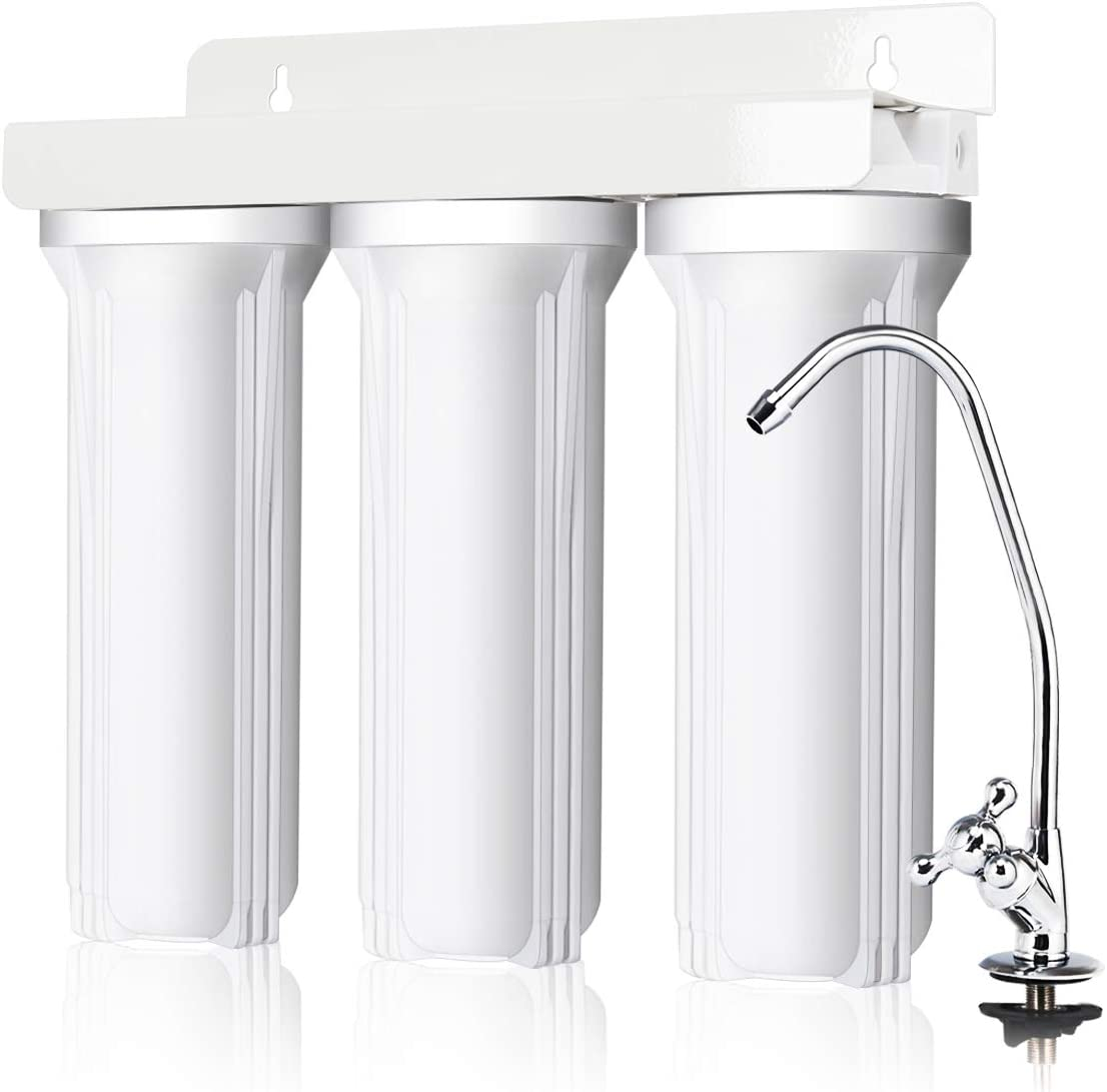 COSTWAY 3-Stage Under-Sink Water Filter System with Faucet, High Capacity Under Sink Drinking Water Filtration System without Tank for Purified Including Sediment, Granular Carbon