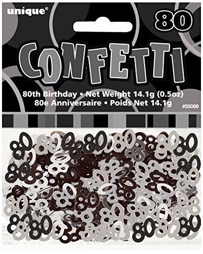 Black & Silver Sparkle Happy 80th Birthday Confetti Foil Sprinkles