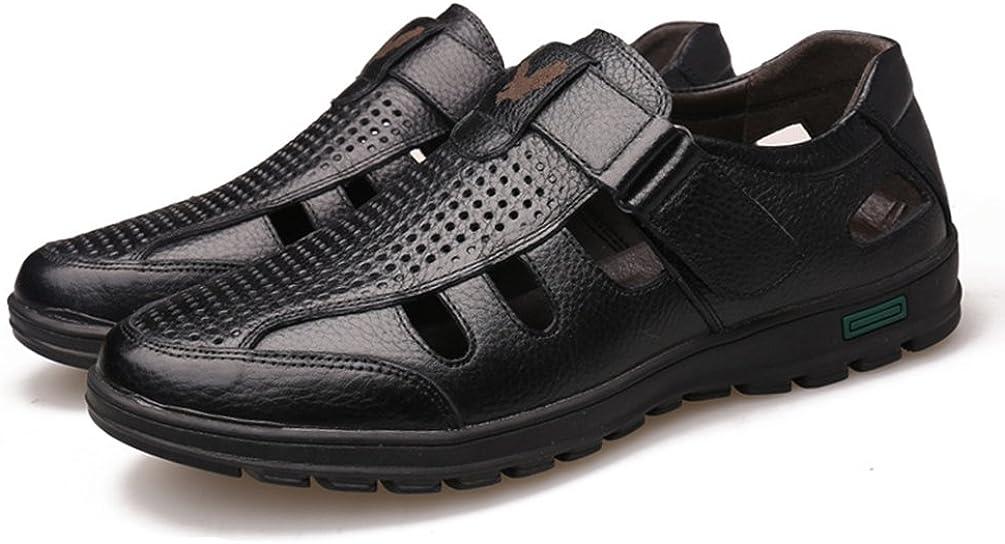 Homme Sandale en Cuir Bout Ferm/ée /Ét/é Chaussure daffaire Ajour/ée a Enfiler Respirante